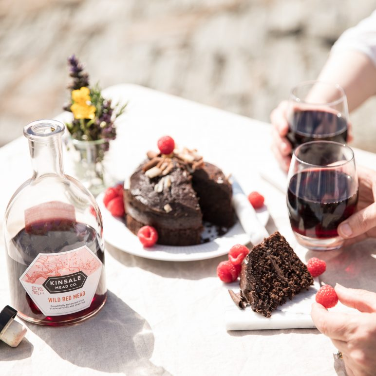 Wild Red Mead with chocolate cake