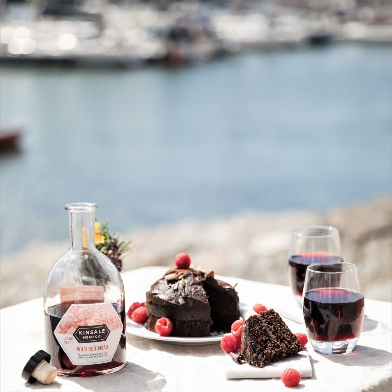 Wild Red Mead at the harbour with chocolate cake