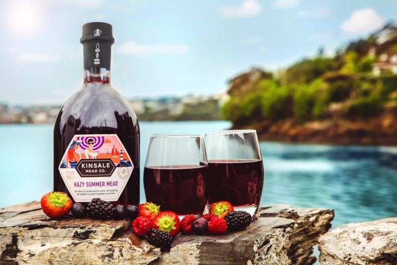 Hazy Summer Mead poured with berries in Kinsale